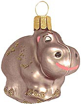 Gleaming Gray Hippo Ornament