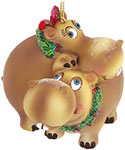 Hippopotamus Couple Ornament