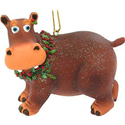 Ms. Hippo with Berry Wreath Ornament