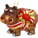Beribboned Hippo Glass Ornament