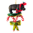 Candy Cane Hippo Ornament