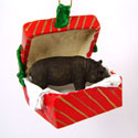Red Gift Box Hippo Ornament