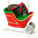 Sleigh Ride Hippopotamus Ornament