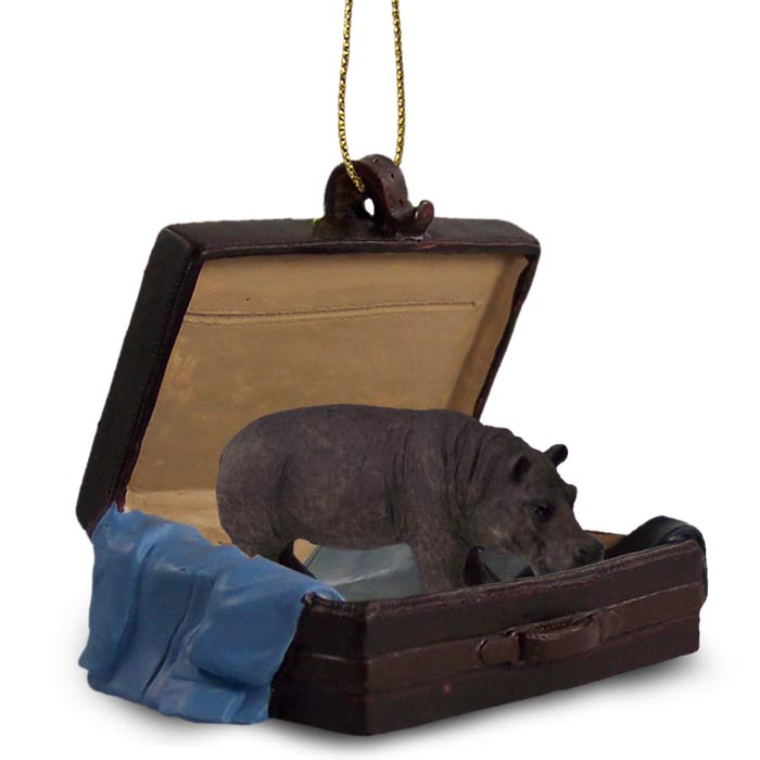 Traveling Suitcase Hippo Ornament