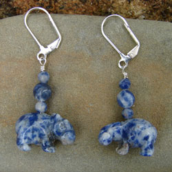 Royal Blue Semi-Precious Stone Hippo Earrings
