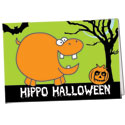 Have A Chompin' Great Day Hippo Halloween Note Card