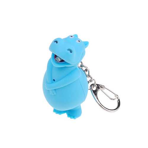 Light Up LED Hippo Keychain - Click Image to Close
