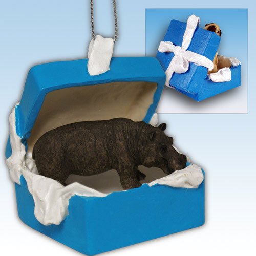 Blue Gift Box With Hippo Ornament - Click Image to Close