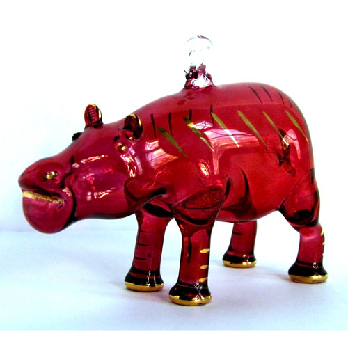Blown Glass Egyptian Hippopotamus Ornament - Click Image to Close