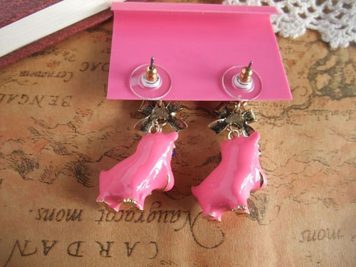 Orange or Pink Enamel Hippo Bow Tie Earrings - Click Image to Close