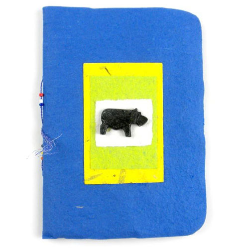 Blue Handmade Notebook With Hippo - Click Image to Close