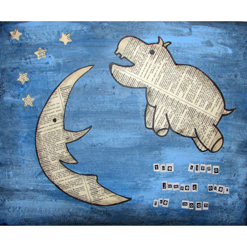 The Hippo Jumped Over The Moon Collage Painting - Click Image to Close