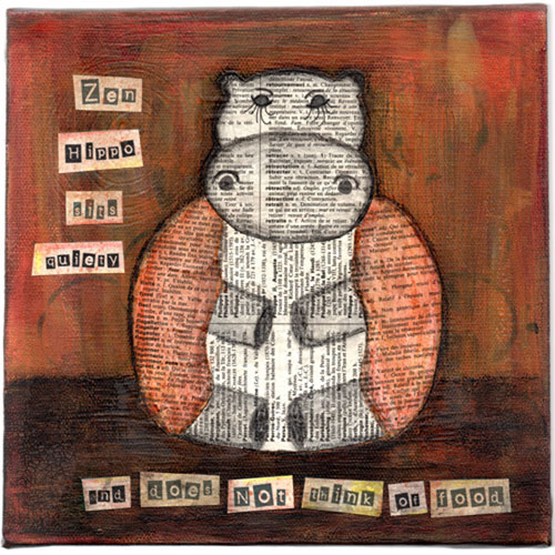 Zen Hippo Sits Quietly Collage Painting - Click Image to Close