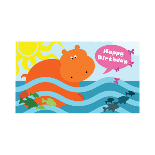 Swimming Hippo Happy Birthday Gift Tag - Click Image to Close