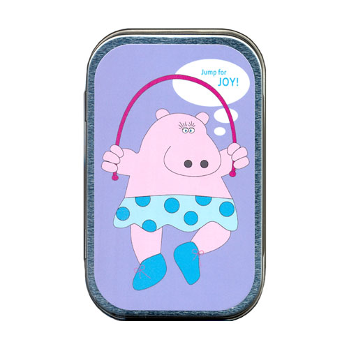 Jump Rope Hippo Mint Tin - Click Image to Close