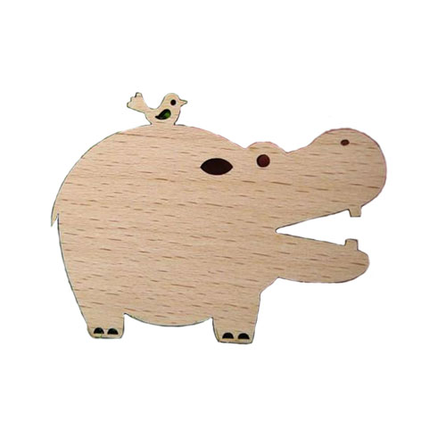 Birdie and Hippo Wood Brooch - Click Image to Close