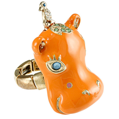 Neon Orange Cubic Zirconia Hippo Ring - Click Image to Close