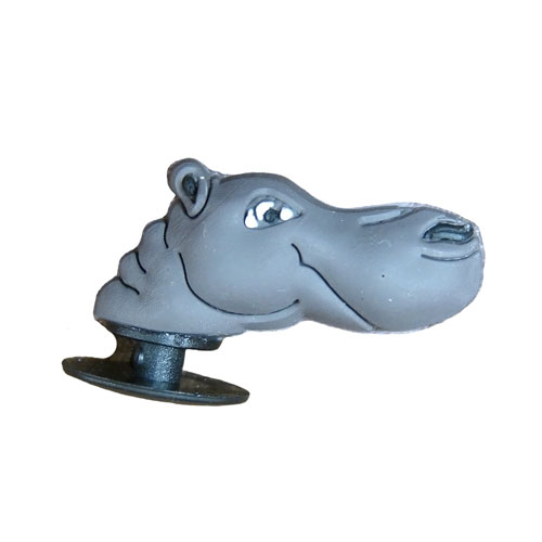 3D Hippo Head Shoe Charm - Click Image to Close