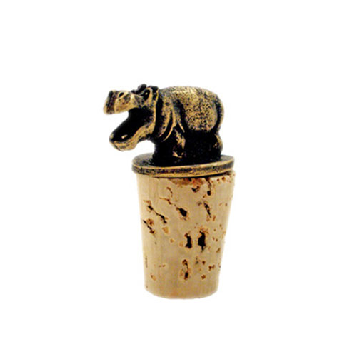 South African Brass Hippo Wine Bottle Stopper - Click Image to Close