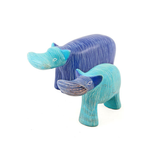 Set of Two Blue Soapstone Hippos - Click Image to Close