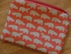 Rosy Pink Hippo Print Pouch