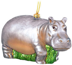 Hippo Glass Ornament