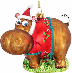 Hippo with Jacket Glass Ornament