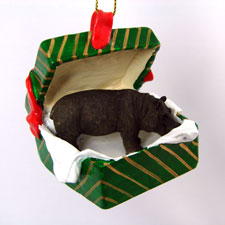 Green Gift Box Hippo Ornament