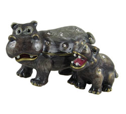Mother & Baby Hippo Trinket Box