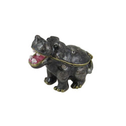 Baby Gray Hippo Trinket Box