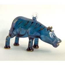 Blown Glass Egyptian Hippopotamus Ornament