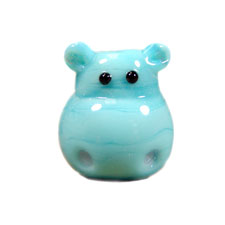 Turquoise Blue Lampwork Hippo Head Bead
