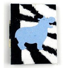 Mini Notebook With Happy Blue Hippo