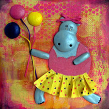 Dancing Ballerina Hippo With Balloons Collage Painting