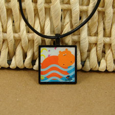 Happy Swimming Hippo Pendant