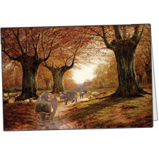An Autumnal Landscape, With Hippos, Note Card