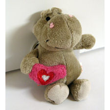 Plush Gray Hippo With Heart Key Chain