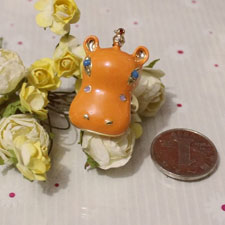 Neon Orange Cubic Zirconia Hippo Ring