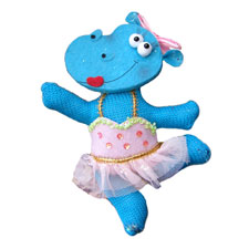 Ballerina Hippo with Pink Tutu Ornament