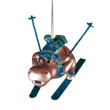 Skiing Hippo Ornament