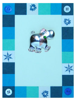 Ice Skating Hippo Pin Card