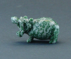 Green Speckled Stone Hippo Figurine