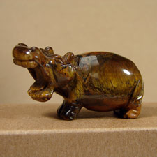 Tiger Eye Hippo Stone Figurine