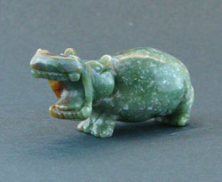 Green Speckled Hippo Figurine