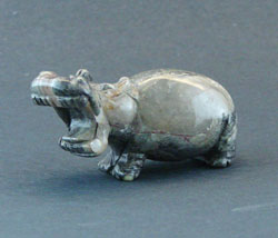 Gray & Tan Stone Carved Hippo Figurine