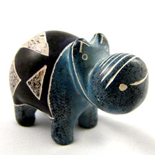 African Hippo Soapstone Figurine
