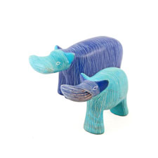Set of Two Blue Soapstone Hippos