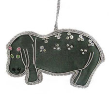 Beaded Hippopotamus Ornament