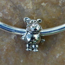 Silver Bangle Bracelet with Standing Hippo Bead