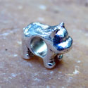Silver Plated Large Hole Hippo Bead